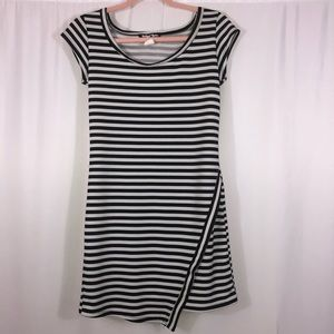 Planet Gold black and white striped dress